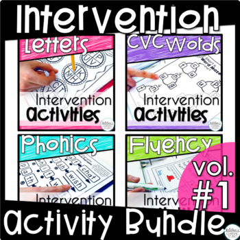 ELA Intervention Binder Bundle- Letters, CVC, Phonics, and