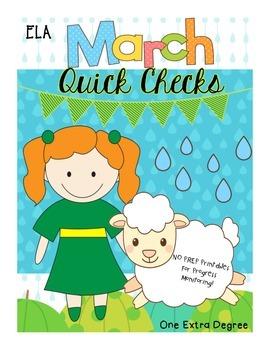 ELA March Quick Checks: No Prep Printables for Progress Mo