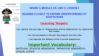 ELA Module 2A Unit 2 Lesson 1