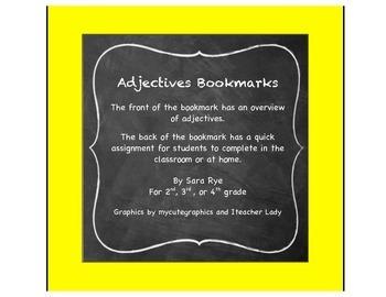ELA Grammar Parts of Speech, Adjective Bookmarks