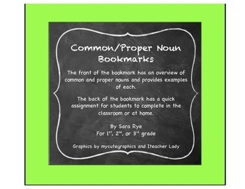 ELA Grammar Parts of Speech, Common and Proper Noun Bookmarks