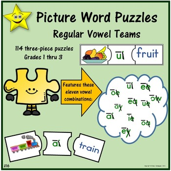 Picture Word Puzzles - Regular Vowel Teams
