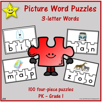 Picture Word Puzzles - Three-Letter Words