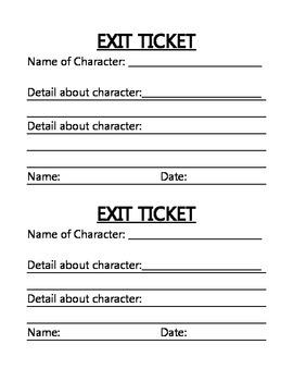 ELA/Ready Gen Character Exit Ticket