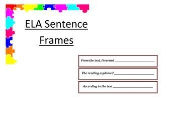 ELA Sentence Frames/Starters