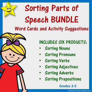 Parts of Speech Word Cards and Activities BUNDLE