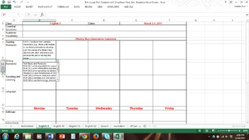 English / LA Spreadsheet Lesson Plan w/ Drop Down WV Next