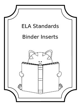 ELA Standards Binder Inserts - Editable Black and White