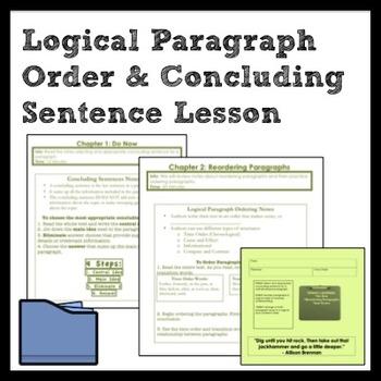 ELA Logical Paragraph Order and Concluding Sentence