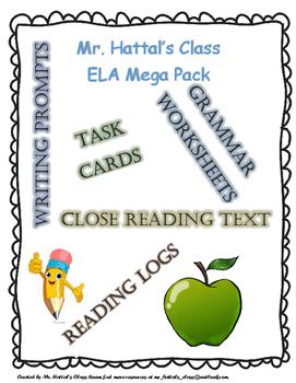 ELA Test-Prep Task Cards, Worksheets, Reading Logs, and Wr