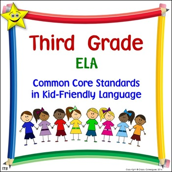 ELA Third Grade Common Core Standards Posters in Kid-Frien