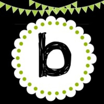 ELA WORD WALL LETTERS - BLACK WITH NEON GREEN