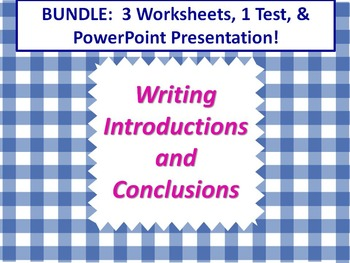 ELA WRITING Introductions & Conclusions BUNDLE 3 Worksheet