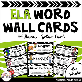 ELA Word Wall Vocabulary Cards - (3rd Grade - Zebra Print)