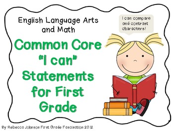 "ELA and Math Common Core ""I can"" Statements for First Grade"