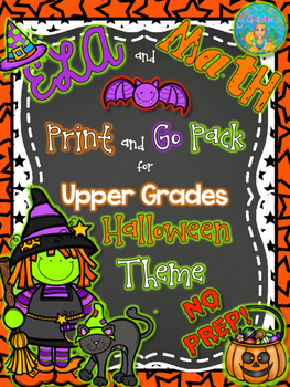 ELA and Math Print and Go Pack Halloween Theme Common Core
