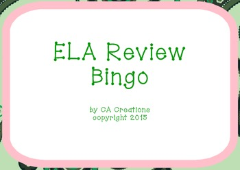 ELA and Reading Vocabulary Review Bingo (6th grade CCSS/Ge