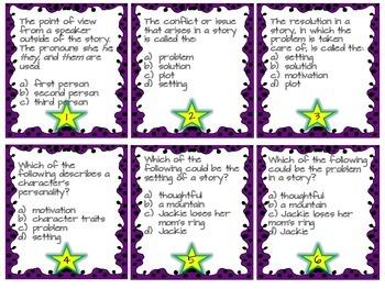 ELA multiple choice vocabulary task cards FREEBIE