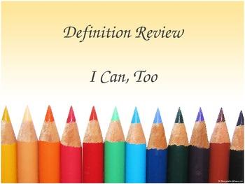 ELAR Week 2 Vocabulay PPT - I Can, Too!