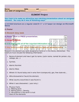 ELEMENT PROJECT + RUBRIC (ESL, SPED, HS, MS, ES friendly)