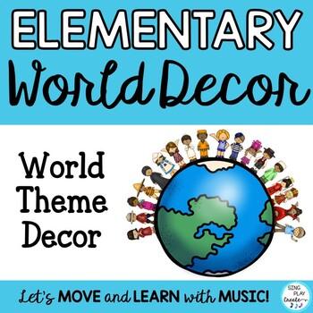 Elementary Classroom Decor World Themed Posters, Bulletin