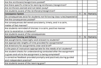 ELEMENTARY SCHOOL CLASSROOM TIER 1 OBSERVATION FORM