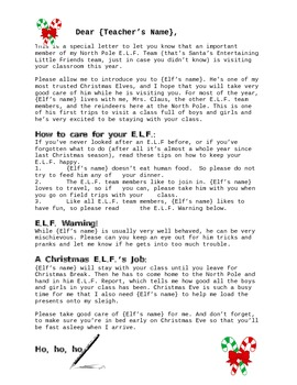 E.L.F. Santa Letter to a Teacher - Boy