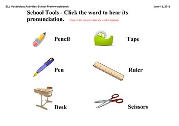 ELL Vocabulary Activities - School