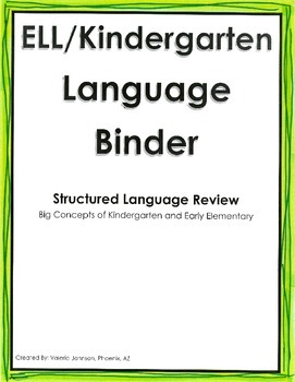 ELL/Kindergarten Language Practice, Listening and Speaking