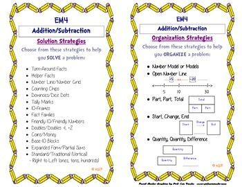 Everyday Math 4: Addition & Subtraction Strategy Card
