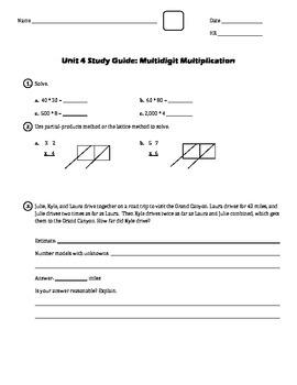 EM4/Everyday Math 4; Grade 4 - Unit 4 Study Guide: Multidi