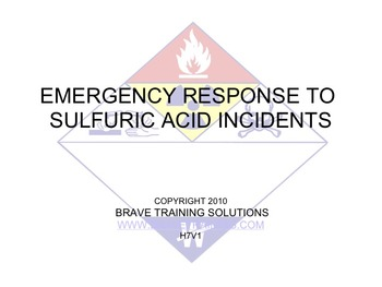 EMERGENCY RESPONSE TO SULFURIC ACID INCIDENTS