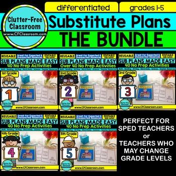 SUB PLANS BUNDLE GR 1-5   SUBSTITUTE TEACHER BINDER   SUBS