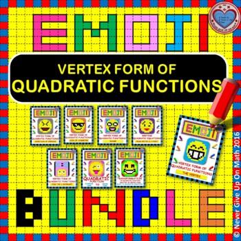 EMOJI - BUNDLE Interpreting the Vertex Form of Quadratic F