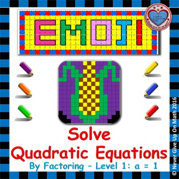 EMOJI - Solve Quadratic Equations By Factoring (Must Facto