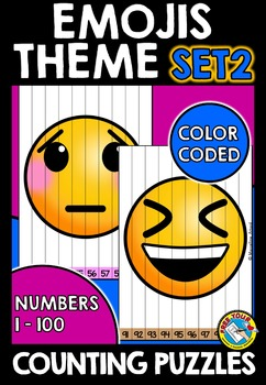 EMOJIS THEME COUNTING PUZZLES: COUNTING TO 100: EMOJIS MAT