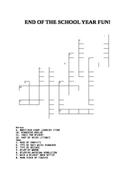 END OF THE SCHOOL YEAR CROSSWORD PUZZLE!