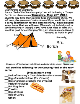 END OF THE YEAR-CAMPING PARTY THEME- EDITABLE IN WORD!