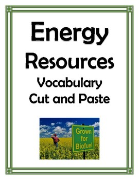ENERGY RESOURCES VOCABULARY CUT AND PASTE
