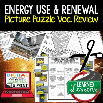 ENERGY USE & RENEWAL Picture Puzzle Study Guide Test Prep