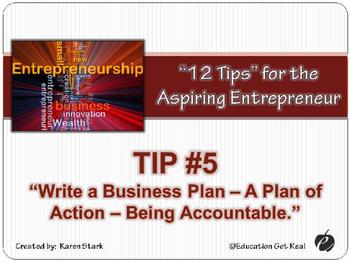 "ENTREPRENEURSHIP PPT - Tip #5: ""Write a Business Plan"""