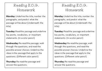 EOG Reading Homework