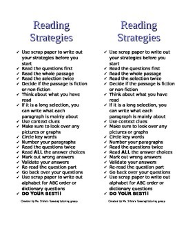 EOG Reading Strategies Half Page Bookmark