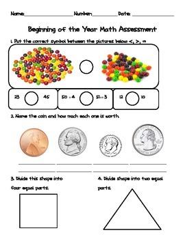 EOY 1st or BOY 2nd grade Assessment - Math