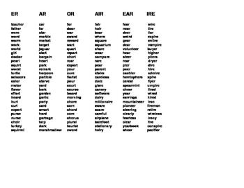 ER AR OR AIR EAR IRE word list