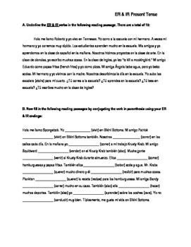 ER & IR Present Tense Reading Worksheet