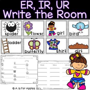 """""""ER, IR, UR"""" Words Write the Room {R-Controlled Vowels}"""