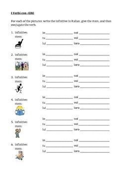 ERE verbs in Italian worksheet