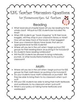 ESE Teacher Discussion Questions for Homeroom/Gen. Ed. Teacher