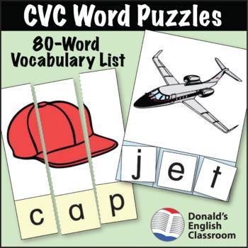 ESL Activities - CVC Puzzles - 80 Word Set